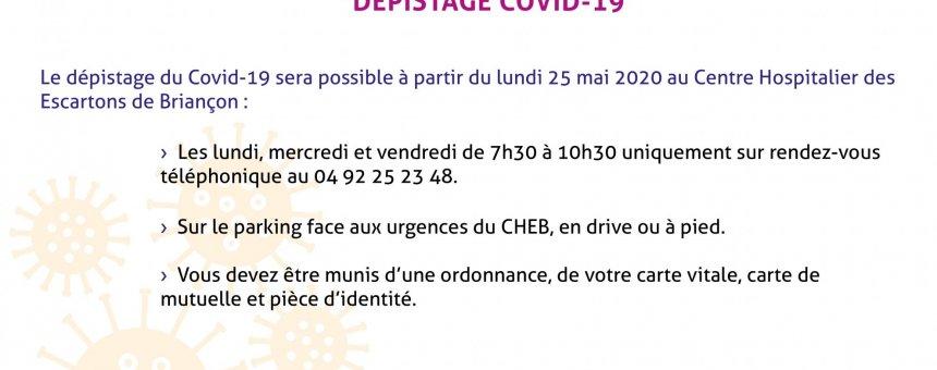 Dépistage Covid19 à compter du 25.05.2020